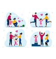 family happiness and relationships flat set vector image vector image