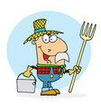 Farmer Carrying A Rake And Pail vector image vector image