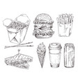 fast food set hand drawn monochrome sketch vector image vector image