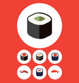 flat icon maki set of eating salmon rolls sushi vector image vector image