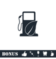 Gas station with leaves icon flat vector image