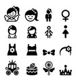 girl icon set vector image