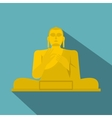 Golden Buddha icon flat style vector image vector image