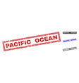grunge pacific ocean textured rectangle watermarks vector image vector image