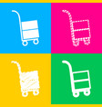 hand truck sign four styles of icon on four color vector image