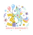 happy birthday cute with unicorn for vector image