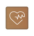 heart cardiogram icon on wooden blocks isolated on vector image