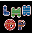 knitted alphabet - LMNOP vector image vector image