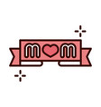 mothers day lettering mom in banner decoration vector image