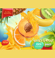 multifruit juice sweet tropical fruits 3d vector image vector image