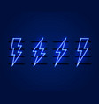 neon sign lightning signboard on blue vector image vector image