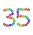 number 35 thirty five of colorful hearts on white vector image