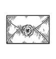 old letter with seal stamp engraving vector image