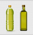 olive or sunflower oil glass plastic bottles vector image vector image