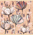 pattern with decorative flowers vintage style vector image vector image