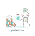 pediatrician giving medicine to a child vector image