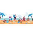 people collecting trash bags on beach pollution vector image vector image