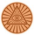pyramid eye bronze coin vector image vector image