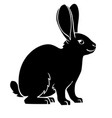 rabbit or hare - black animal silhouette vector image vector image