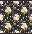 rose flowers pattern roses black print flower vector image
