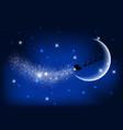 santa flying through the night sky vector image vector image