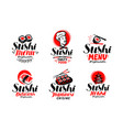sashimi sushi logo or label set japanese vector image vector image