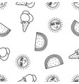 seamless pattern funny sun ice cream cone and vector image vector image