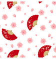 semaless pattern with folding fan and sakura vector image