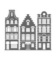 set 3 shape holland old houses facades vector image vector image