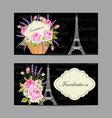 Set horizontal banners with eiffel tower and