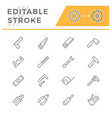 set line icons hand tool vector image vector image