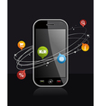 Smartphone device with application on black vector image vector image