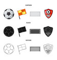 soccer and gear symbol set vector image vector image