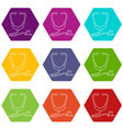 stethoscope icons set 9 vector image vector image