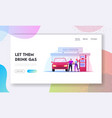 vehicle refilling landing page template vector image