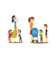 young mothers walking with little kids set tired vector image vector image