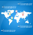 world map infographics with pointer marks vector image
