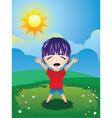 Boy on Lawn vector image