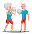 active elderly man and woman playing ball vector image