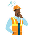 african thinking builder with question marks vector image vector image