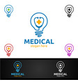 bulb idea cross medical hospital logo vector image vector image