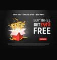 buy 3 get 2 free ad special vector image vector image