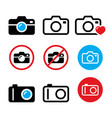 camera taking photos no sign icons vector image