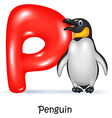 Cartoon of P letter for Penguin vector image vector image