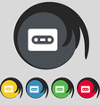 Cassette icon sign Symbol on five colored buttons vector image