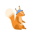 childish character funny squirrel in blue hat vector image