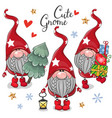 christmas cute cartoon gnomes on a white vector image