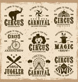 circus set brown emblems labels badges vector image vector image