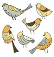collection of cute hand drawn birds vector image vector image