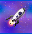 cute cartoon space rocket on deep space background vector image vector image